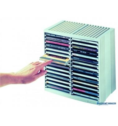 CD-tároló, automata kiemelőrendszerű, 30+18 db-os, FELLOWES 'Spring', platinaszürke