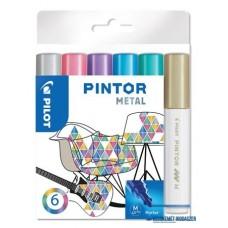 Dekormarker készlet, 1,4 mm, PILOT 'Pintor M' 6 különböző metál szín