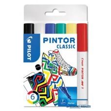 Dekormarker készlet, 1 mm, PILOT 'Pintor F' 6 különböző klasszikus szín