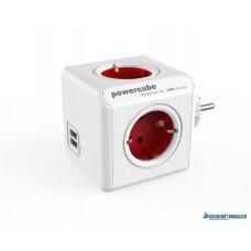 Elosztó, 4 aljzat, 2 USB csatlakozó, ALLOCACOC 'PowerCube Original USB DE', fehér-piros