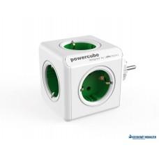 Elosztó, 5 aljzat, ALLOCACOC 'PowerCube Original DE', fehér-zöld