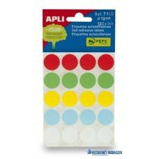 Etikett, 19 mm kör, kézzel írható, színes, APLI, vegyes színek, 100 etikett/csomag