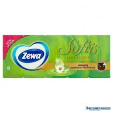 Papír zsebkendő, 4 rétegű, 10x9 db, ZEWA 'Softis', aloe balsam